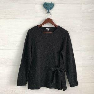 J Jill LP Speckled Black Silk Blend Sweater